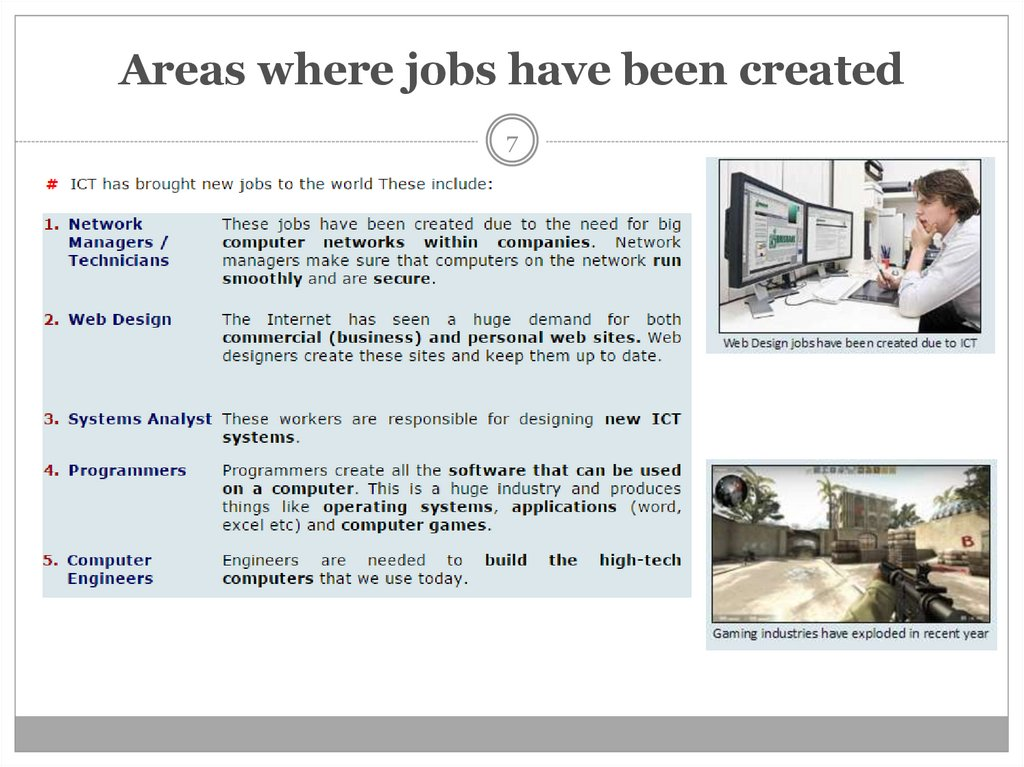 Areas where jobs have been created