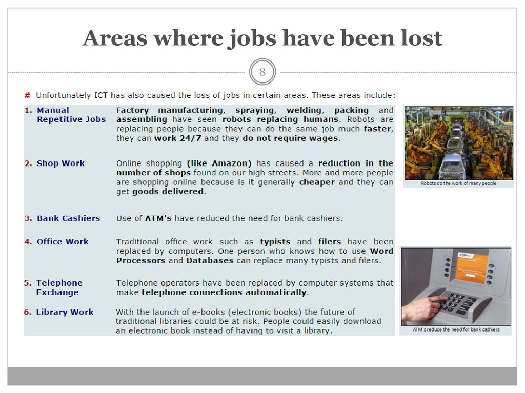 Areas where jobs have been lost