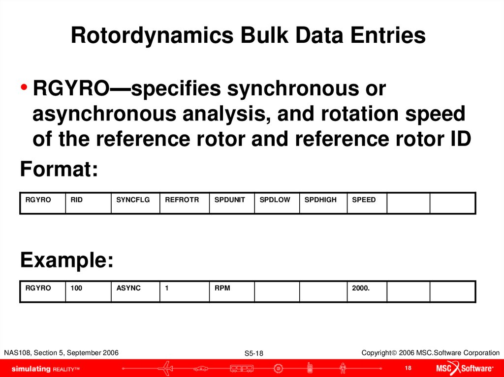Rotordynamics Bulk Data Entries
