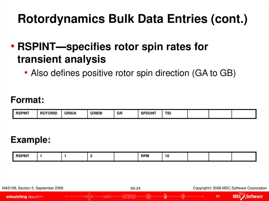 Rotordynamics Bulk Data Entries (cont.)