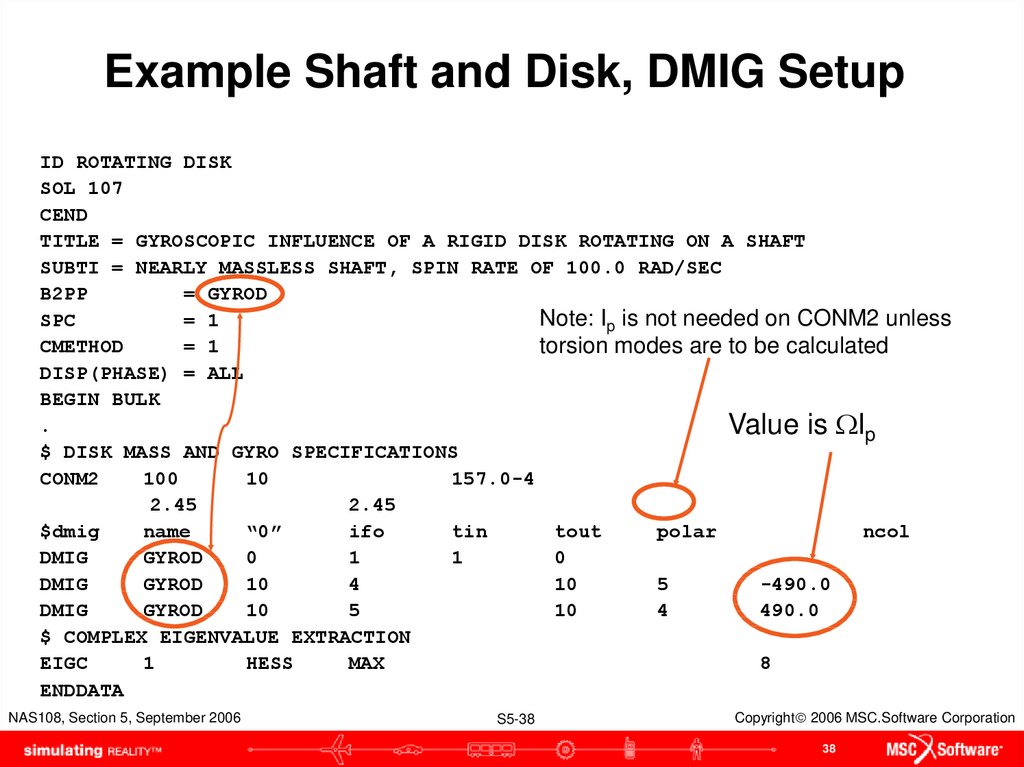 Example Shaft and Disk, DMIG Setup