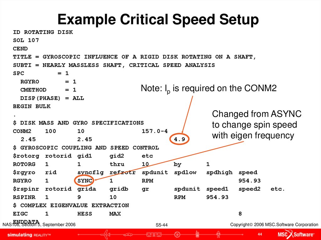 Example Critical Speed Setup