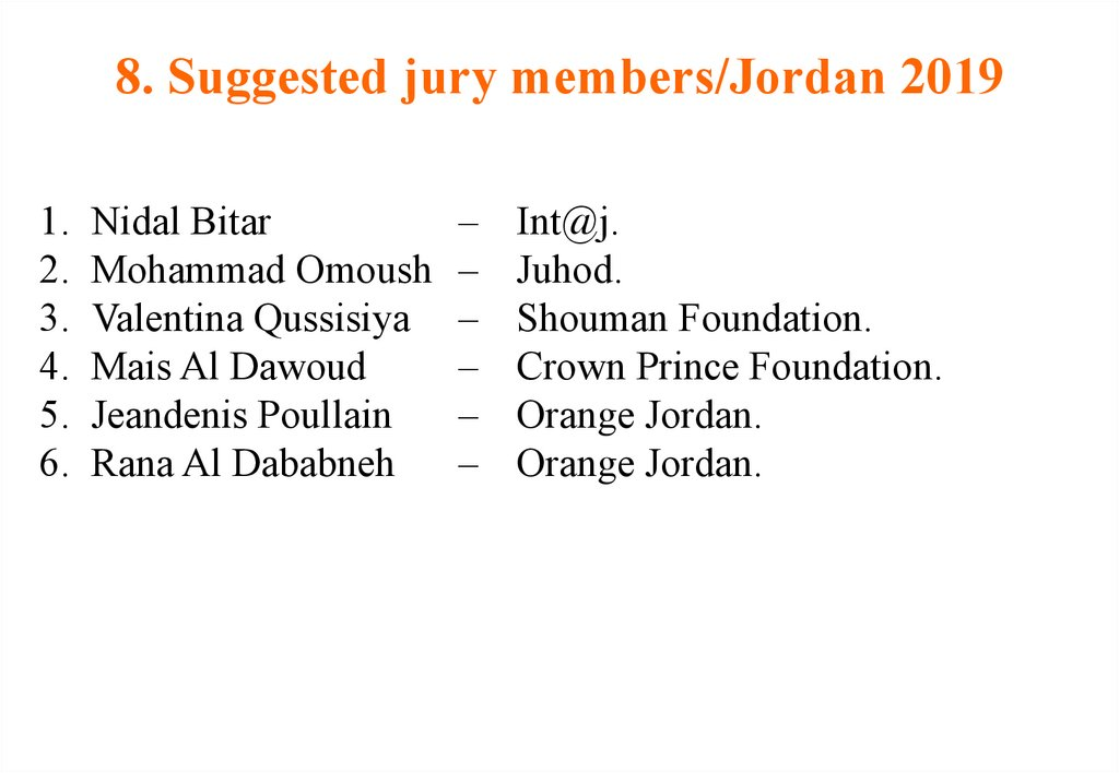 8. Suggested jury members/Jordan 2019