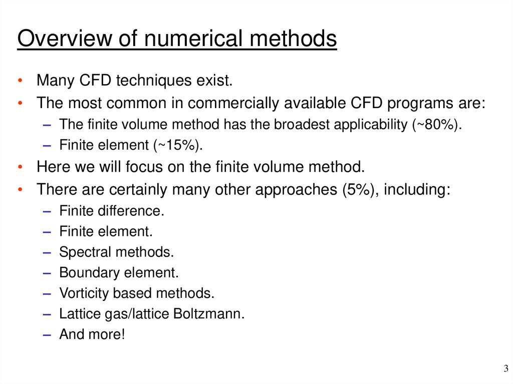 Overview of numerical methods