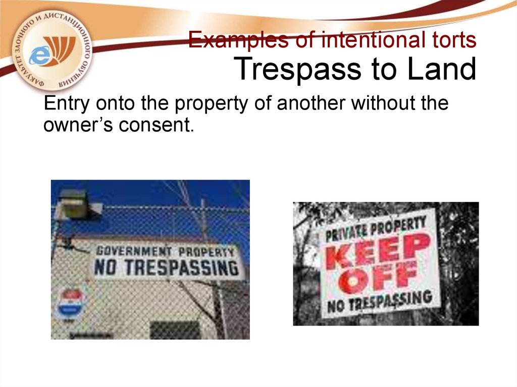 Examples of intentional torts Trespass to Land