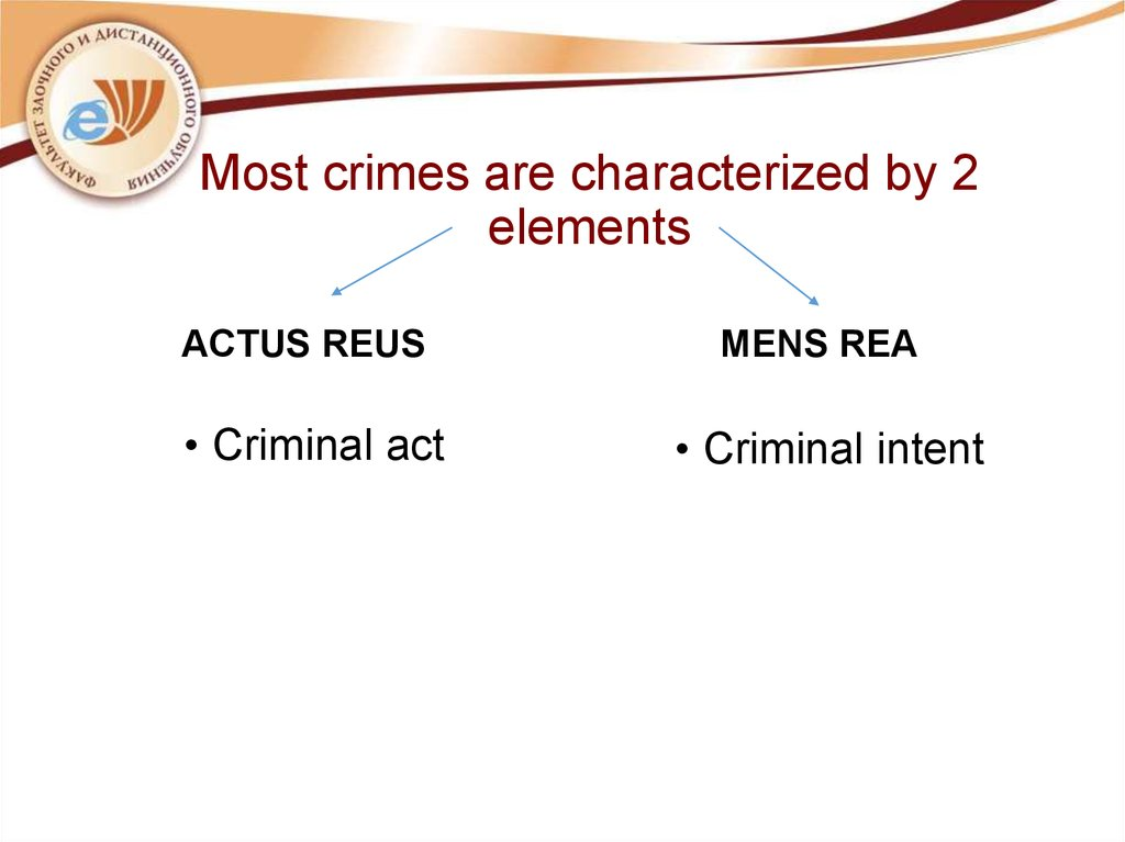 Most crimes are characterized by 2 elements