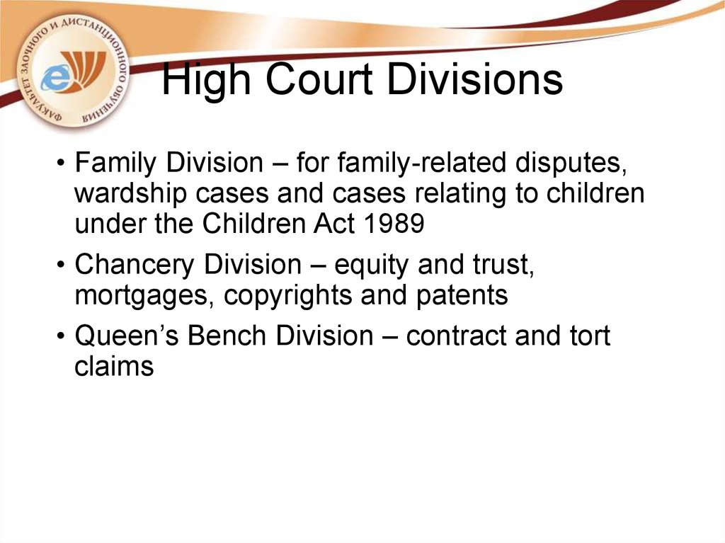 High Court Divisions