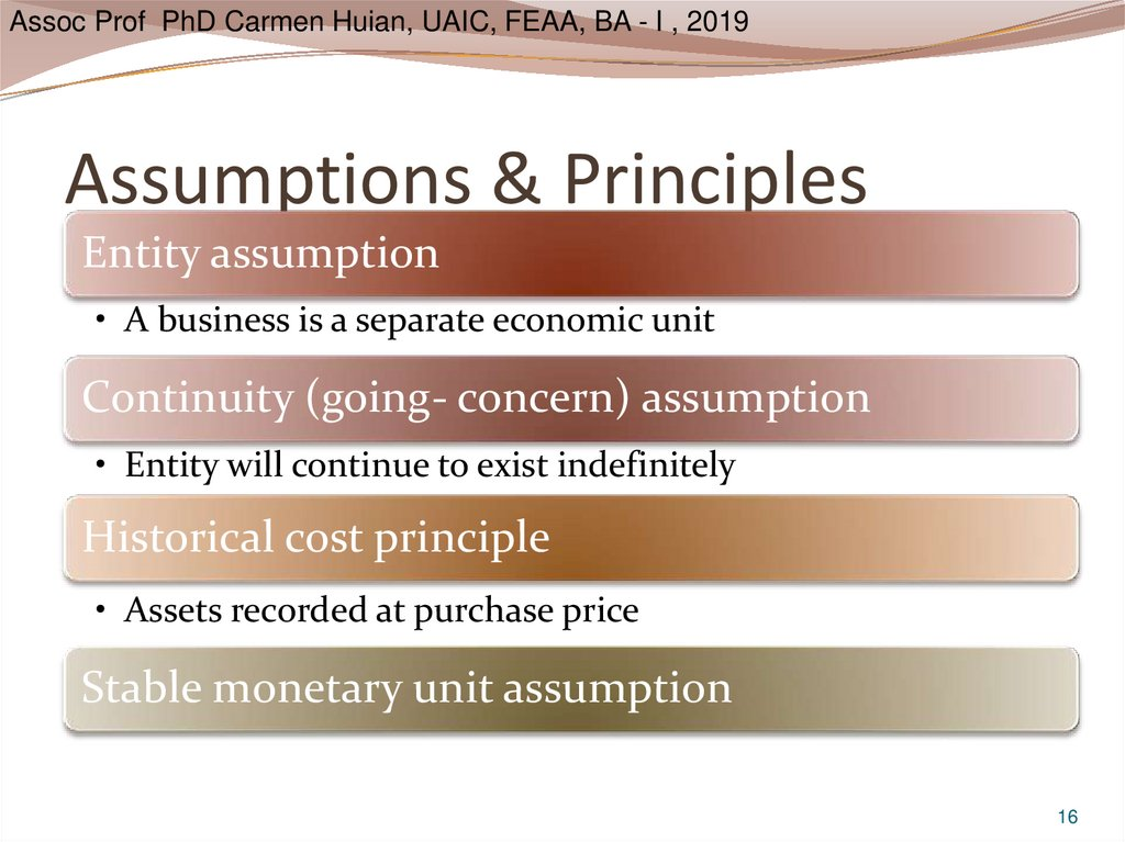 Assumptions & Principles
