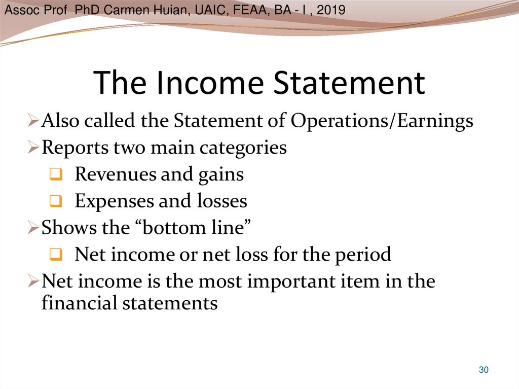 The Income Statement