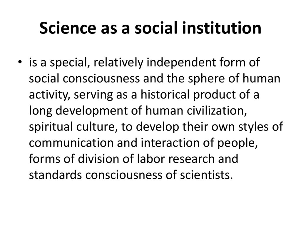 Science as a social institution