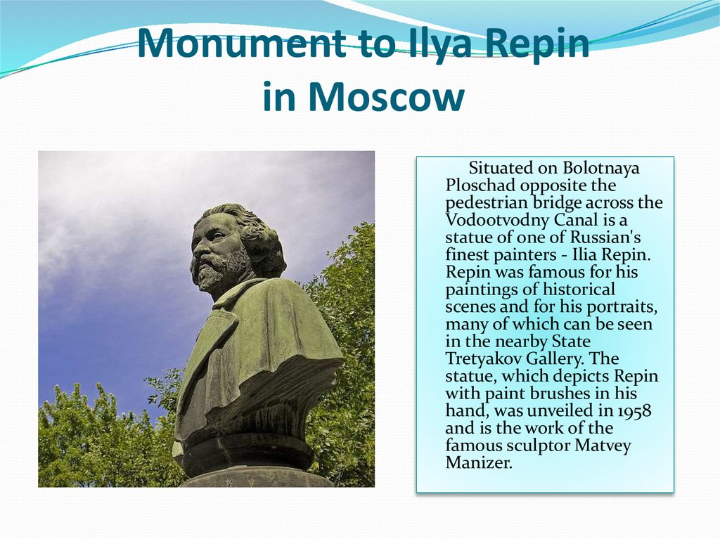 Monument to Ilya Repin in Moscow