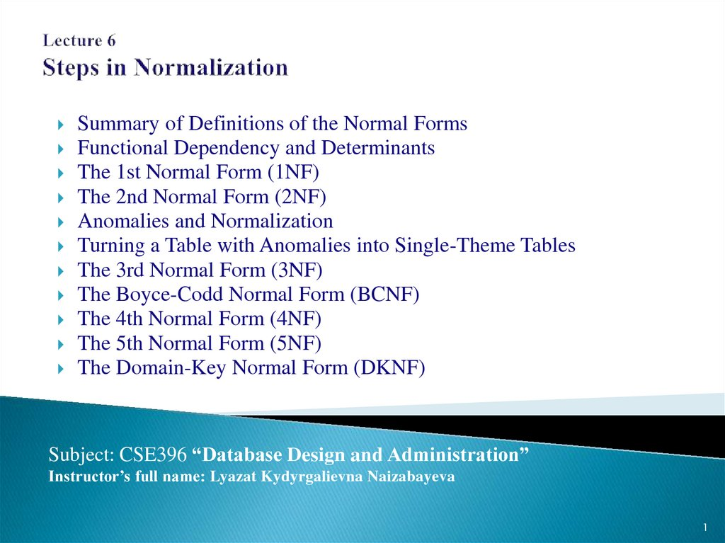 Lecture 6 Steps in Normalization