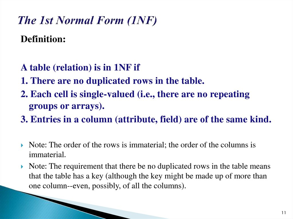 The 1st Normal Form (1NF)