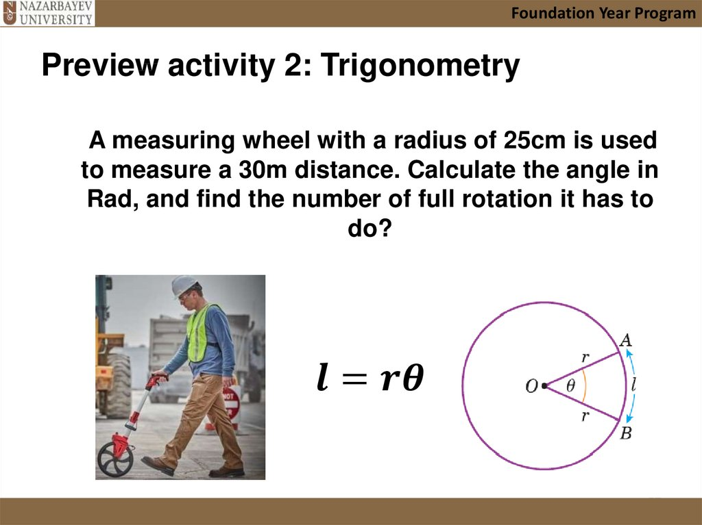A measuring wheel with a radius of 25cm is used to measure a 30m distance. Calculate the angle in Rad, and find the number of
