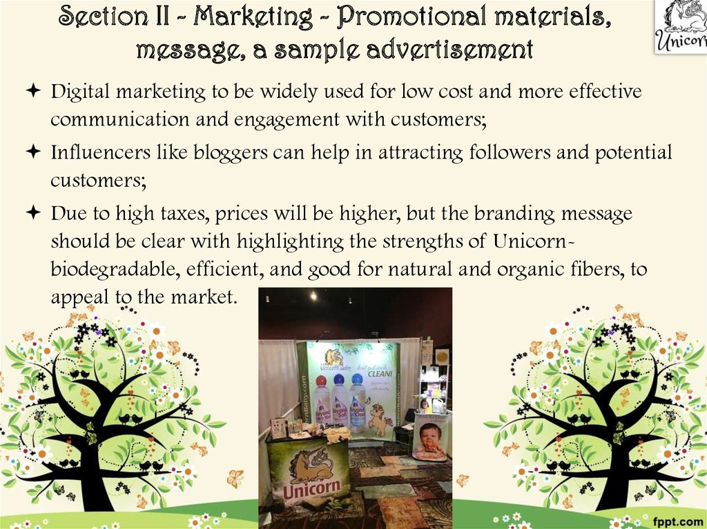 Section II - Marketing - Promotional materials, message, a sample advertisement