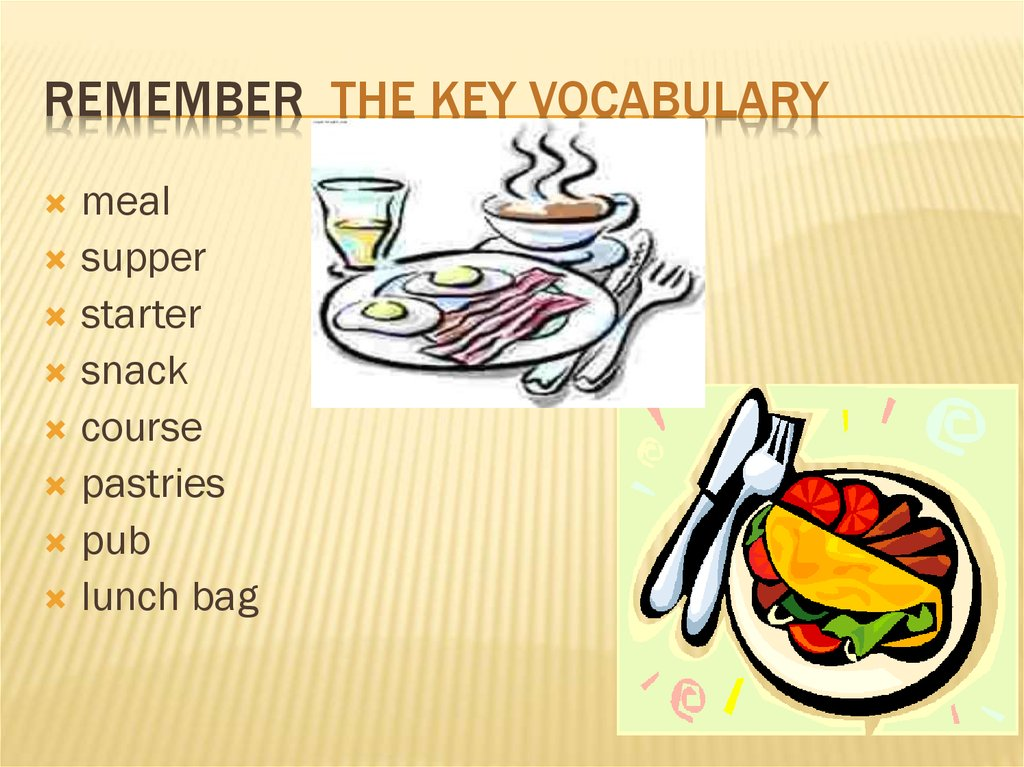 Remember the key Vocabulary