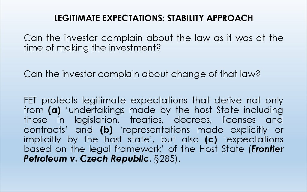LEGITIMATE EXPECTATIONS: STABILITY APPROACH