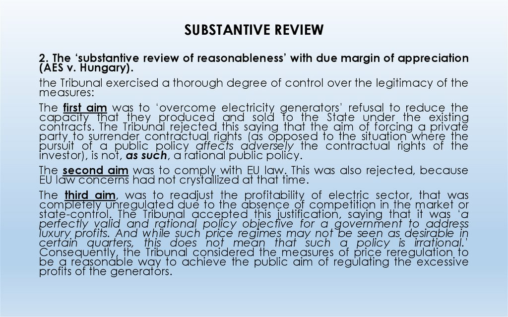 SUBSTANTIVE REVIEW