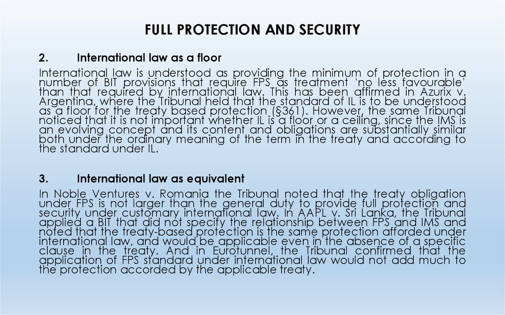 FULL PROTECTION AND SECURITY