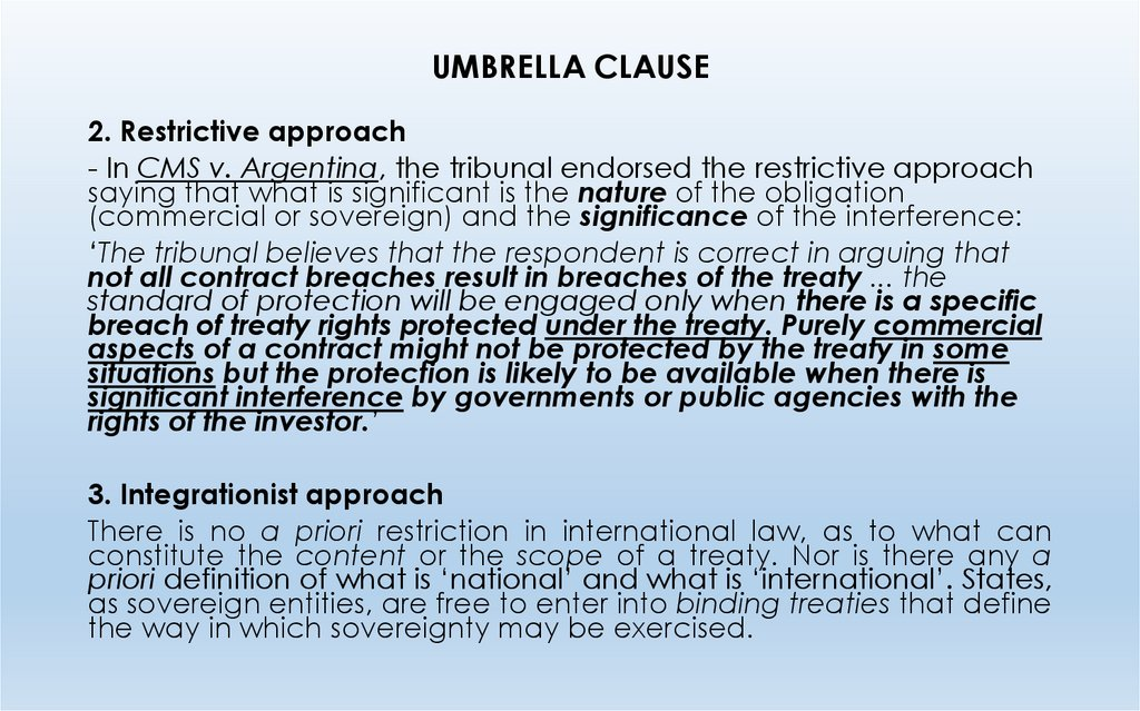 UMBRELLA CLAUSE