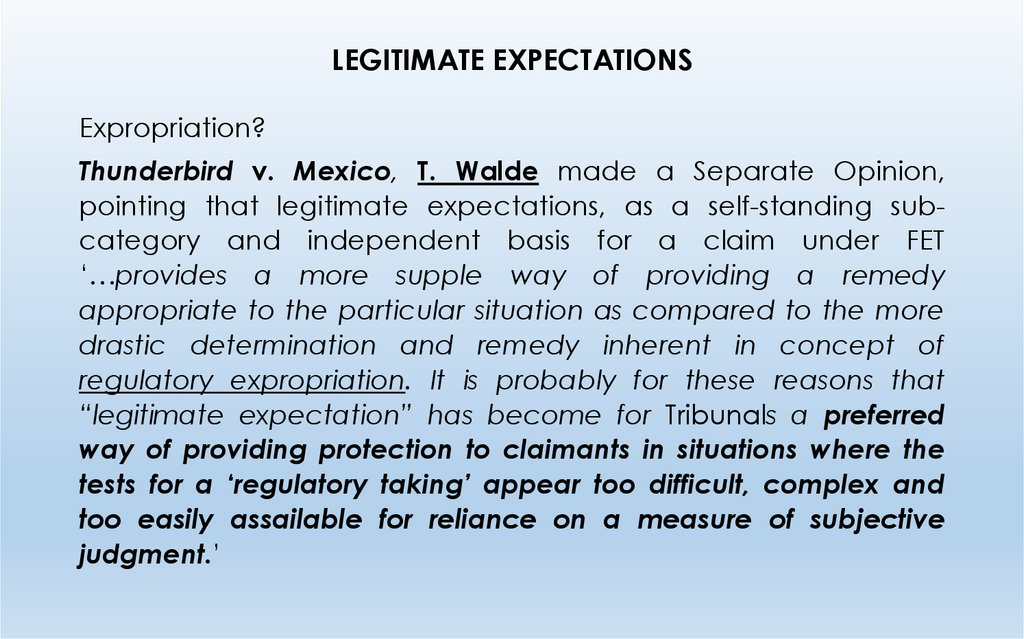 LEGITIMATE EXPECTATIONS