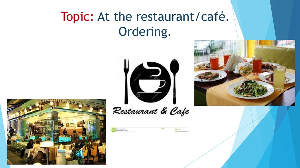 Topic: At the restaurant/café. Ordering.