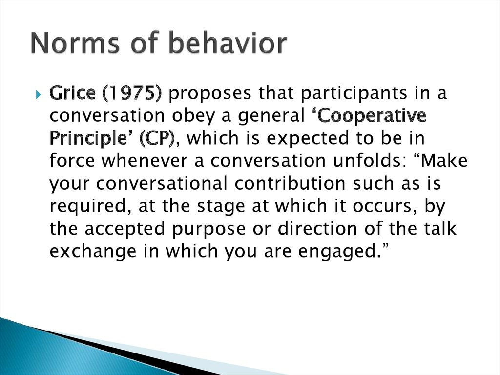 Norms of behavior