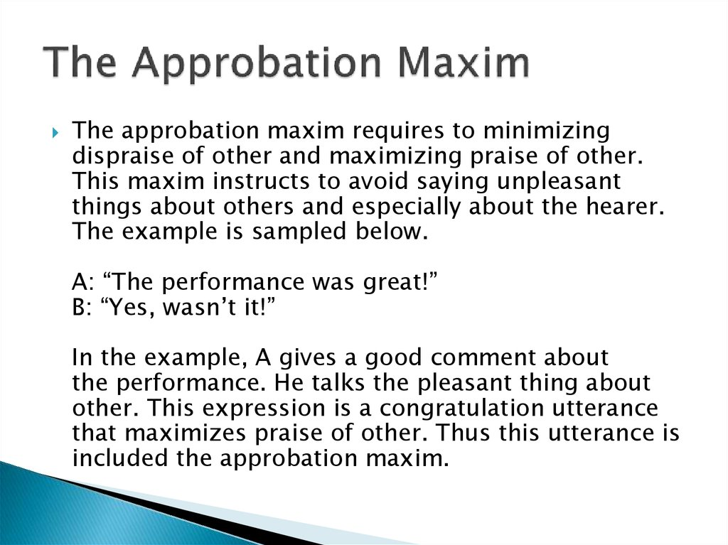 The Approbation Maxim