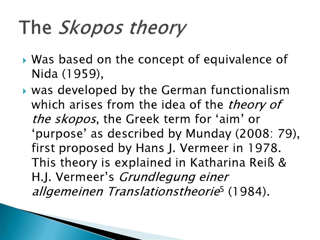 The Skopos theory