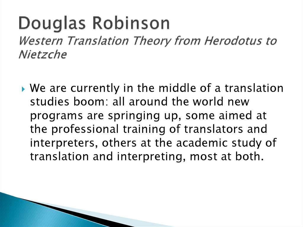 Douglas Robinson Western Translation Theory from Herodotus to Nietzche