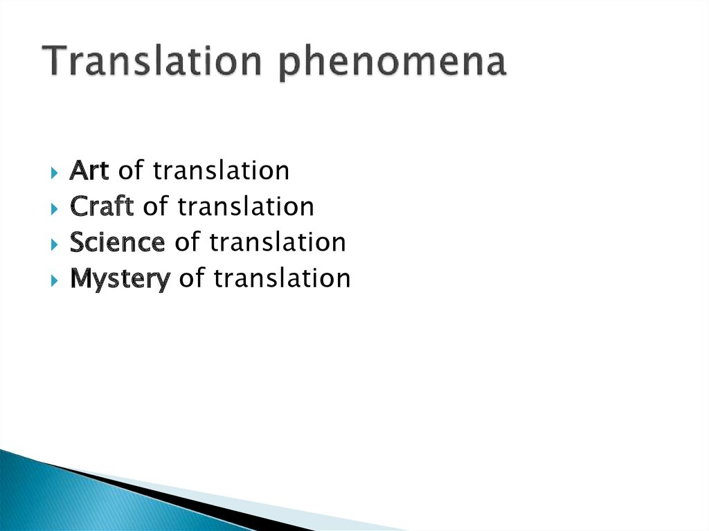 Translation phenomena