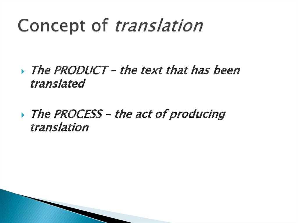 Concept of translation