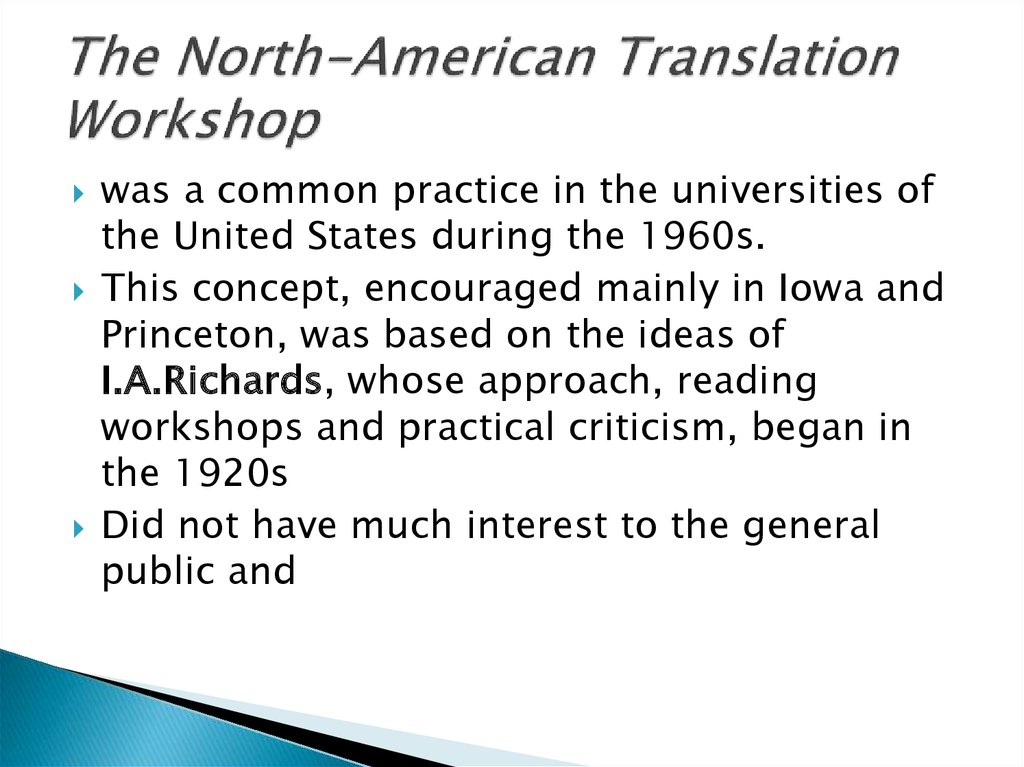 The North-American Translation Workshop