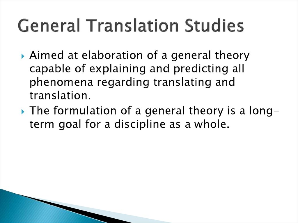 General Translation Studies