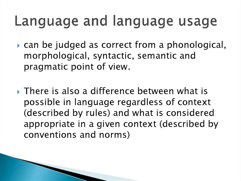 Language and language usage