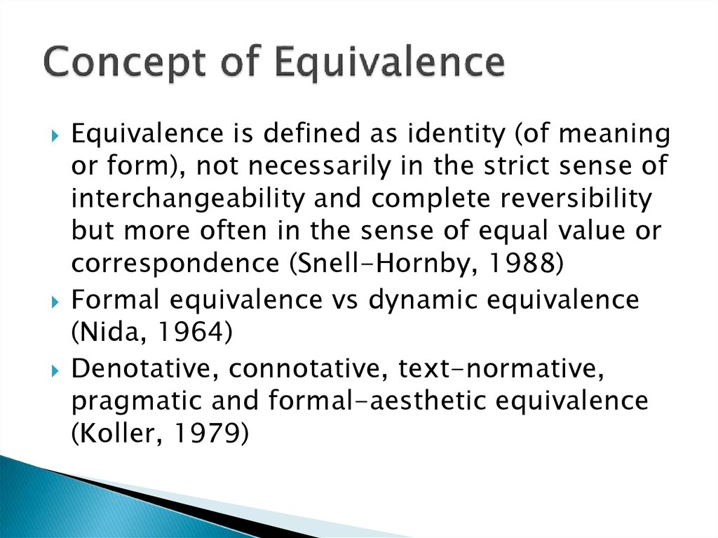 Concept of Equivalence
