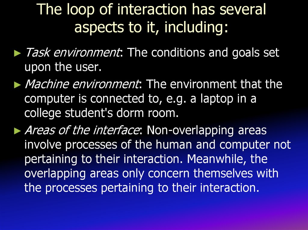 The loop of interaction has several aspects to it, including: