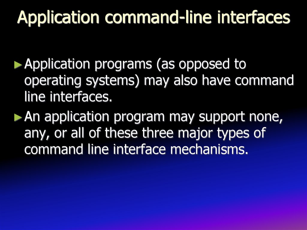 Application command-line interfaces