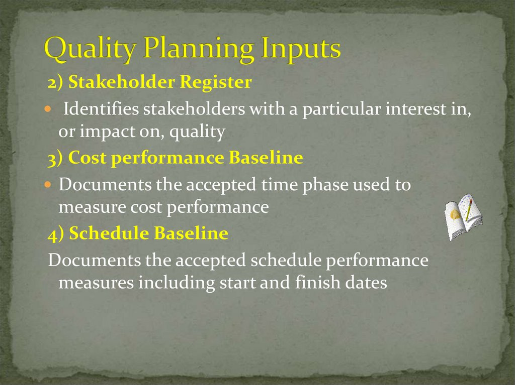 Quality Planning Inputs