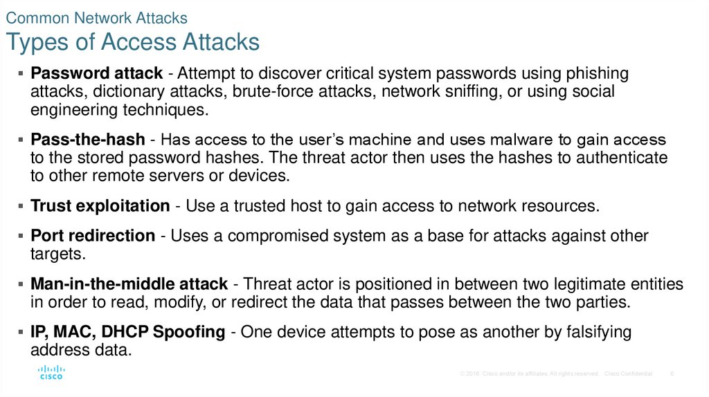 Common Network Attacks Types of Access Attacks