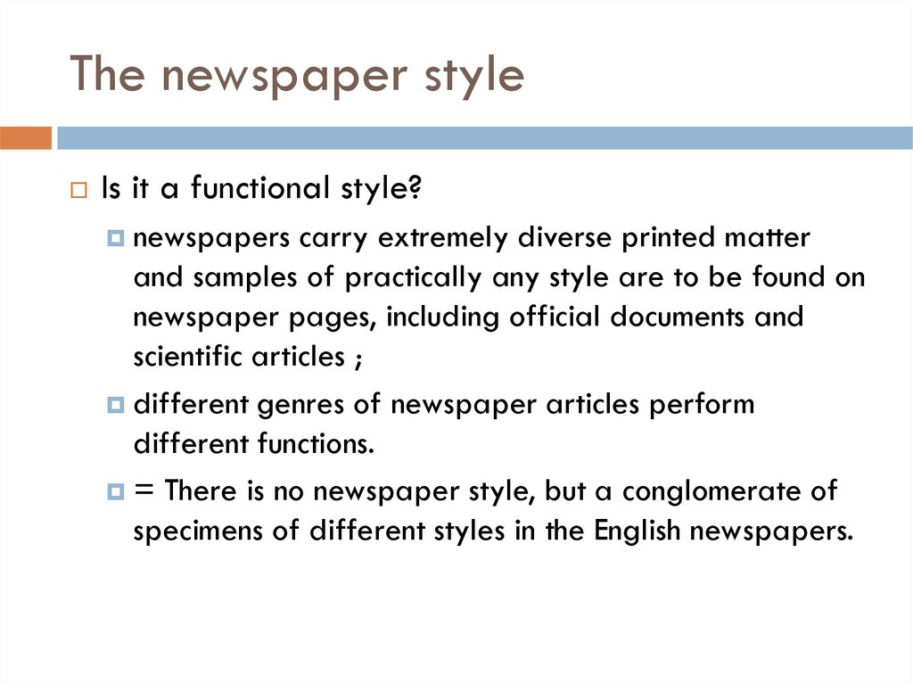 The newspaper style