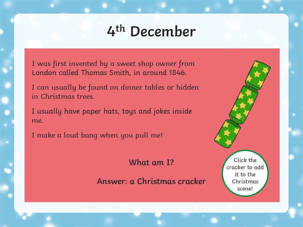 Christmas Riddles Advent Calendar Online Presentation