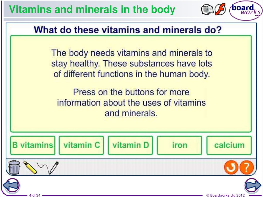Vitamins and minerals in the body