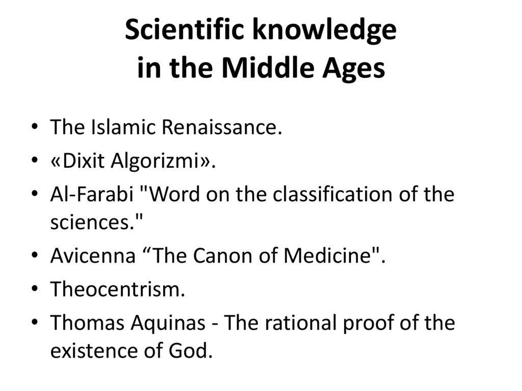 Scientific knowledge in the Middle Ages