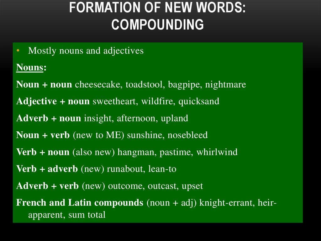 Formation of New Words: Compounding