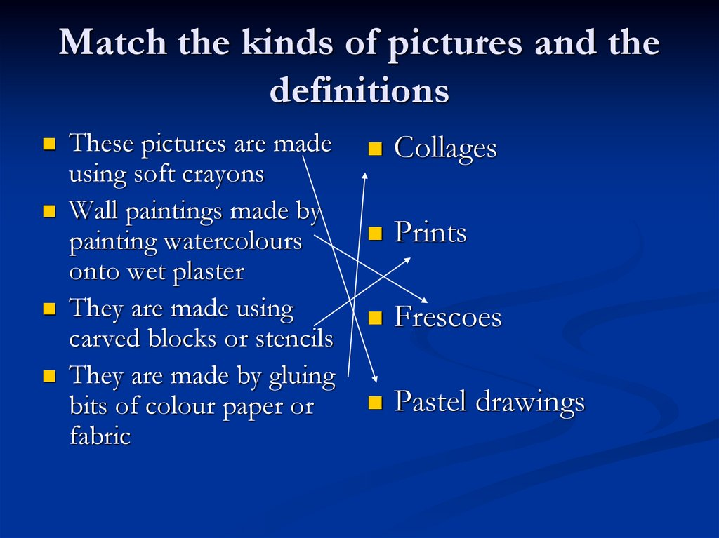 Match the kinds of pictures and the definitions
