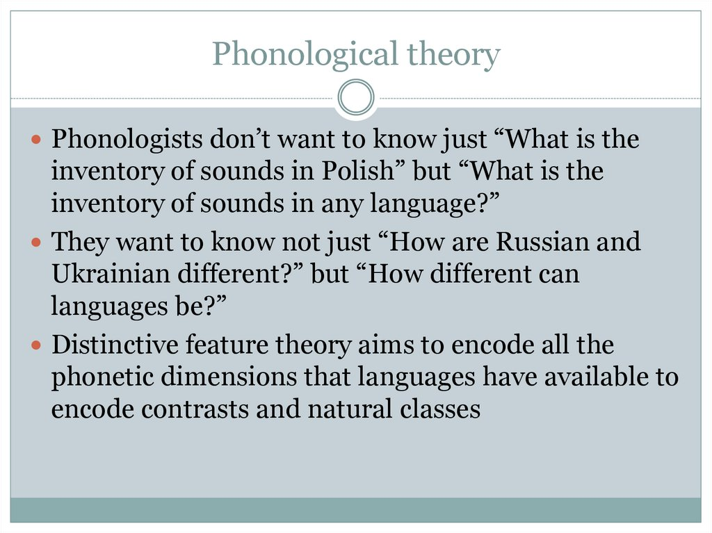 Phonological theory