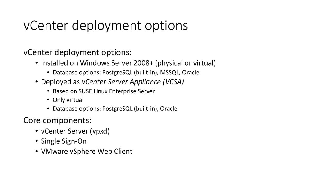 vCenter deployment options