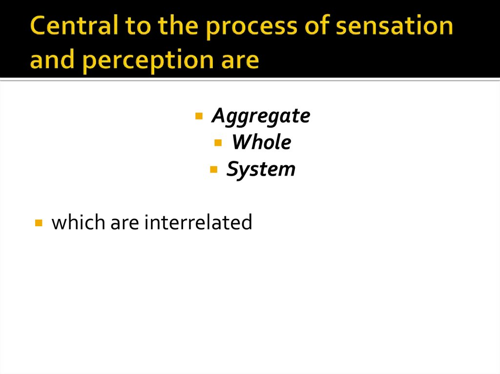Central to the process of sensation and perception are