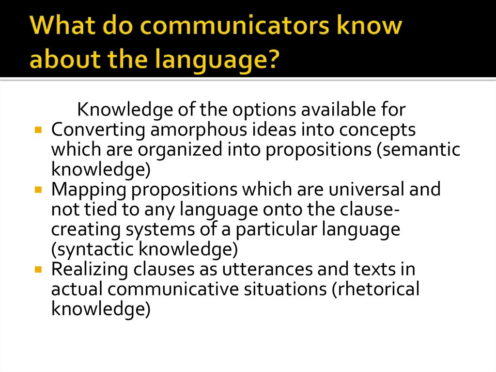What do communicators know about the language?